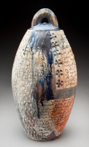 by Maureen Mills Woodfired stoneware with slip, stamp, inlay, resist and glaze
